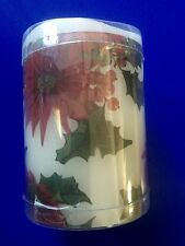 "Flameless Poinsettia Candle Holiday 3""x4"""