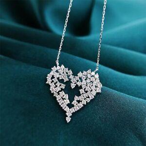 925 Silver Charm Cubic Zirconia Heart Necklaces Pendants Wedding Women Jewelry