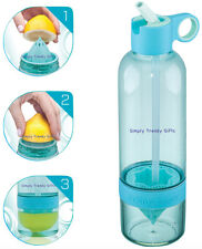 Blue Citrus Zinger Sport Water Bottle and Drinking Straw Turquoise Fruit Infuser