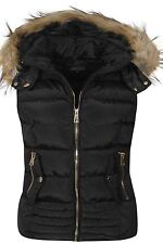 Womens Gilet Black Navy Faux Fur Lined Bodywarmer Hood Jacket Coat Sizes UK S-XL
