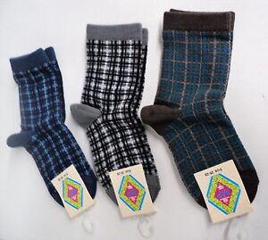 Boys crew socks by MP - Brown, Grey, Blue Plaid - set of 3 pairs