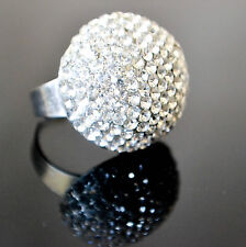 FASHIONABLE DOME CLEAR WHITE BLING RHINESTONES (OPEN BACK/ADJUSTABLE) RING