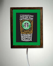 Starbucks Coffee Espresso Store Shop Art Poster Capuccino Light Lighted Sign
