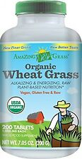 Amazing Grass Organic Wheat Grass, 200 Count, 1000Mg Tablets, New, Free Shipping
