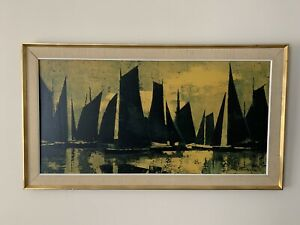 Vintage 1970's Framed Print Boats At Sea Sailing Boat Silhouette By R Hodge