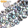 """Natural Rainbow Abalone Shell Coin Flatback Beads For Jewellery Making 15"""" UK"""