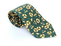 "NEW - Men's HERMES 7518  IA 100% Silk Neck tie FLORAL Green Yellow 58"" X 3.5"""
