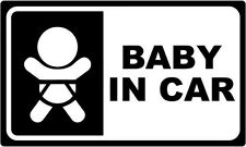 """Baby In Car JDM Decal Sticker Car Truck Window- 6"""" Wide White Color"""