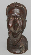 VINTAGE EUROPEAN ABSTRACT HAND CARVED WOOD MAN  BUST SCULPTURE