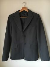 H&M Polyester Grey Stripe Lined Size 10 Suit Jacket <T9152