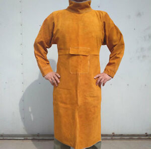Cow Split Leather Welding Aprons Heavy Duty Welder Aprons With Neck & Sleeves