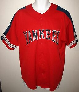 GENUINE MERCHANDISE by STARTER -  LARGE - RED YANKEES BUTTON FRONT JERSEY