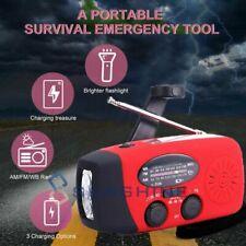 1000mAh Power Bank Solar Hand Crank Weather Radio Emergency Charger Flash Light