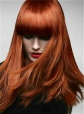 New Red Long Straight Wig With Full Bangs Synthetic Hair 16 In