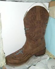 Leather Pull On Casual Cowboy, Western Boots for Women
