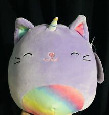 "NWT Squishmallows Kellytoy CIENNA Purple Caticorn Cat Unicorn Rainbow 8"" Plush"