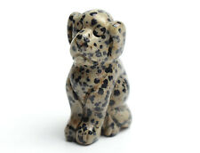 Dalmation Jasper Carved Crystal Reiki Healing Dog Statue Animal Totem Sculpture