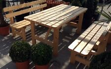 Garten Bank Tisch Set 2 Bänke Lehne Gartentisch Holzbank Holztisch Garnitur Neu
