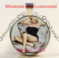 Marilyn Monroe Cabochon Tibetan silver Glass Chain Pendant Necklace #4840