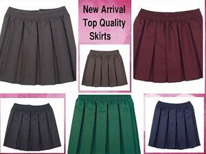 Girls School Skirts Box Pleated Elasticated Waist Skirt Kids School Uniform New