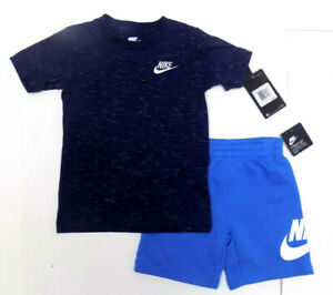 Nike Boys 2 Piece Shirt and Short Set - Pacific Blue - 4T- NEW/NWT