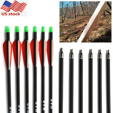 Carbon Arrow 6Pcs 28in.Sp500 7.8mm Red Vanes Compound/Recurve Bow Archery