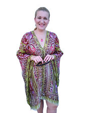 Plus Size Silk Kaftan Top Beach Coverup Paisley Stylish Resort Cruise Wear 90 Cm 192 Green