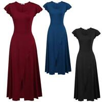 Women Casual Cap Sleeve Solid O Neck Empire Stretchy Maxi Dress EHE8 02