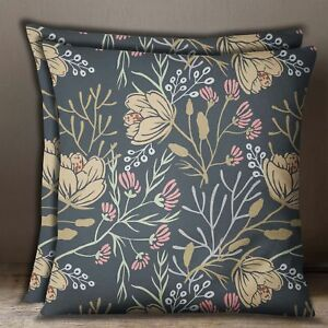 Home Decorative 1 Pair Grayish Blue Floral Print Cotton Poplin Cushion Cover