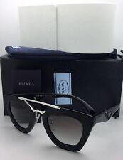 New PRADA Sunglasses SPR 14S 1AB-0A7 Black Leather & Silver Frame w/ Grey Fade