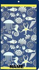 "30"" x 60"" Name Embroidered Beach / Pool Towel With Deep Sea Life Design"