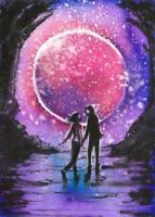 ACEO Moon Stars Fantasy romance men woman landscape original painting art signed