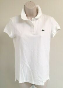 LACOSTE 2 Button White Polo Shirt Short Sleeves Size 36