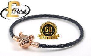 Genuine Pandora Sparkling Lion Princess Woven Black Leather Bracelet S925 ALE