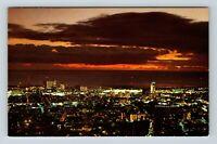 Honolulu HI, Early Evening, Pacific Ocean, City Lights, Chrome Hawaii Postcard