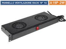 """PANNELLO DI VENTILAZIONE 1U 230V ARMADIO RACK 19"""" DOPPIA VENTOLA INTERRUTTORE"""