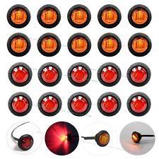 """10X Red + 10X Amber Mini 12V 3/4"""" Round Side 3 LED Marker Trailer Bullet Light"""
