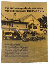 JOHN DEERE JD300 Turf TRACTOR Vintage Brochure 1968