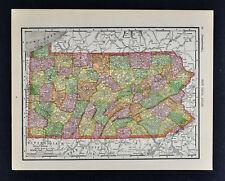 1911 McNally Map - Pennsylvania - Philadelphia Pittsburgh Erie Harrisburg Pa