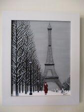 """Gabriel Donnet  """"L'élégante du Champs-de-Mars et la tour Eiffel"""" Tableau naïf -"""