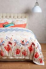 New Anthropologie Garden Buzz Duvet Cover King Size +2 King Shams Floral Run Big