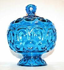 """Smith Wright MOON & STAR Blue Covered Footed Compote 7.5"""" tall"""