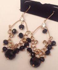 pampille cristaux diamant et perle noir couleur or oreilles percées 5355
