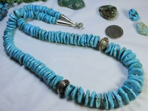 """Big125g 24"""" NAVAJO Mercury DIME Bead SONORAN TURQUOISE STERLING Silver NECKLACE"""