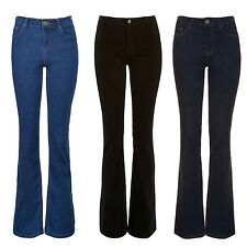 New Ladies Flared Boot Cut Hipster Wide Leg High Rise Stretch Jeans Size UK 6-16