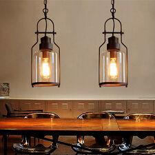 Ceiling Lantern Retro Industrial 1-Light Rust Metal Glass Fixture Pendant Light