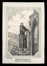 santino incisione 1800 S.FRANCESCO D'ASSISI RESTAURA S.DAMIANO