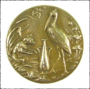 Large Antique Metal Button - Fox and the Stork, Aesop Fable