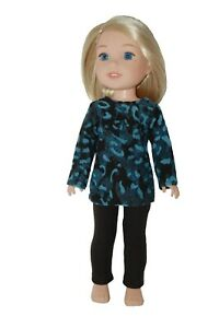Pants & Top made fits14 inch Wellie Wisher Doll Clothes by TKCT Turquoise Black
