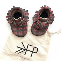 Freshly Picked Leather Moccasins Plaid Red Black Fringe Baby Walker Shoes